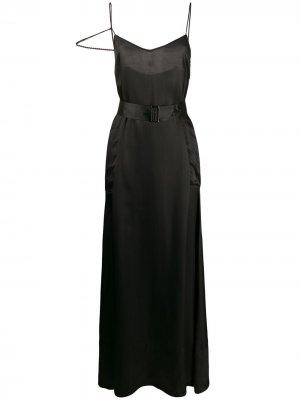 Атласное платье с поясом A.F.Vandevorst. Цвет: черный
