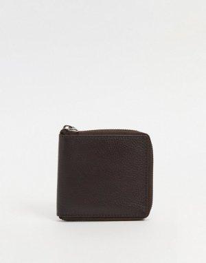 Кожаный бумажник с круговой молнией -Коричневый цвет Urbancode