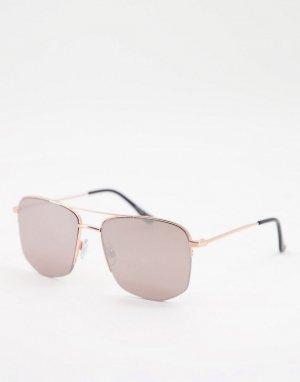 Солнцезащитные очки-авиаторы унисекс в золотистой оправе -Золотистый Jeepers Peepers