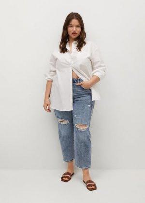 Нарочно рваные джинсы - Rotos Mango. Цвет: синий средний