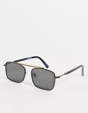 Черные солнцезащитные очки в стиле унисекс металлической оправе с серебристыми деталями и плоской планкой Jodrell-Черный цвет Spitfire