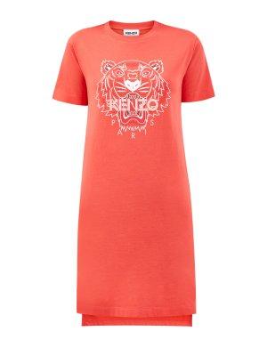 Платье-футболка из джерси с культовым принтом Tiger KENZO. Цвет: оранжевый