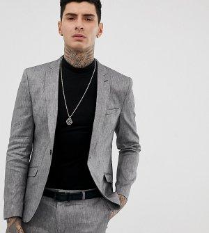 Серый пиджак скинни из смесовой льняной ткани Heart & Dagger