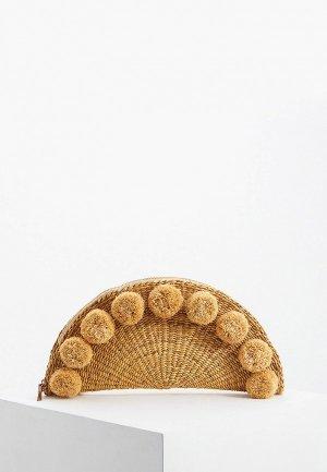 Клатч Whistles Stanley Large Taco Pom Clutch. Цвет: бежевый