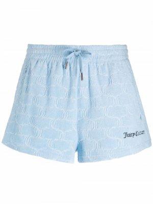 Махровые шорты с логотипом Juicy Couture. Цвет: синий