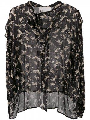 Блузка с анималистичным принтом 8pm. Цвет: черный
