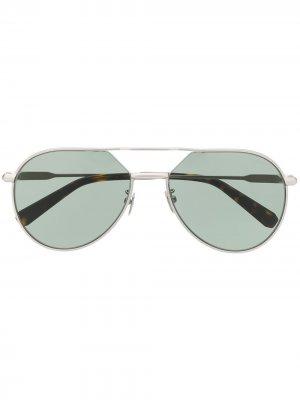 Солнцезащитные очки-авиаторы Brioni. Цвет: серебристый