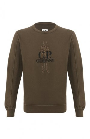 Хлопковый свитшот C.P. Company. Цвет: хаки