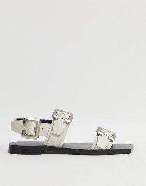 Светлые кожаные сандалии с ремешком на пятке BRONX-Белый Bronx