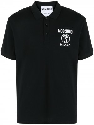 Рубашка поло Double Question Mark Moschino. Цвет: черный