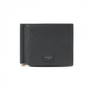 Кожаный зажим для денег Dolce & Gabbana. Цвет: серый