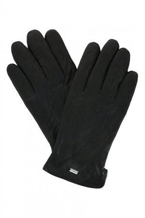 Черные перчатки из кожи Strellson. Цвет: черный