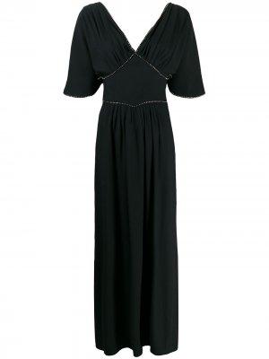 Длинное платье с кристаллами Amen. Цвет: черный