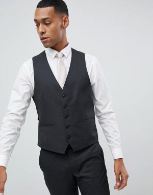 Темно-серый приталенный жилет Moss London BROS