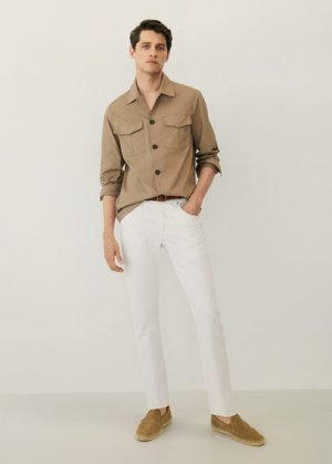 Хлопковый жакет с карманами - Leonardo Mango. Цвет: коричневый средний
