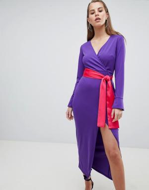 Платье макси с длинными рукавами и контрастным поясом ASOS DESIGN