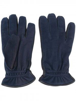 Однотонные перчатки Ermenegildo Zegna. Цвет: синий