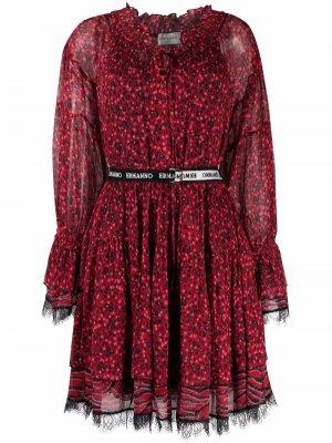 Платье с кружевом и цветочным принтом Ermanno. Цвет: красный