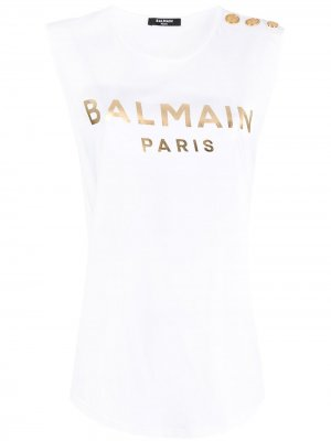Топ с пуговицами и логотипом Balmain. Цвет: белый