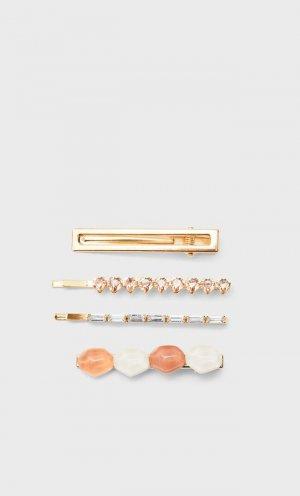 Набор Из 4 Заколок Для Волос С Камнями Желтый 103 Stradivarius. Цвет: желтый