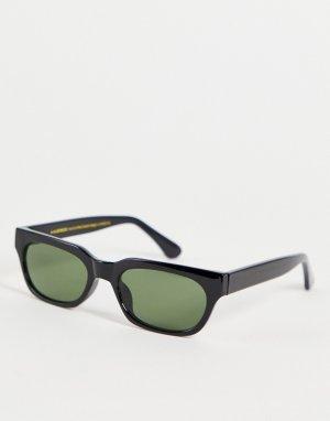 Узкие прямоугольные солнцезащитные очки унисекс в черной оправе стиле ретро Bror-Черный цвет A.Kjaerbede