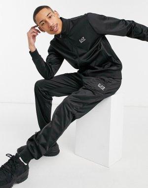 Трикотажный спортивный костюм черного цвета с логотипом Armani Core ID-Черный цвет EA7