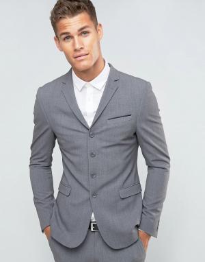 Серый супероблегающий пиджак на четырех пуговицах ASOS DESIGN. Цвет: серый
