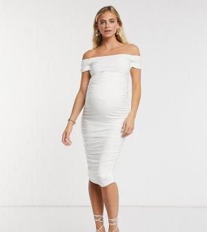 Белое платье мидакси с открытыми плечами Club L London Maternity-Белый Maternity