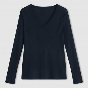 Пуловер объемного покроя с V-образным вырезом La Redoute Collections. Цвет: темно-зеленый