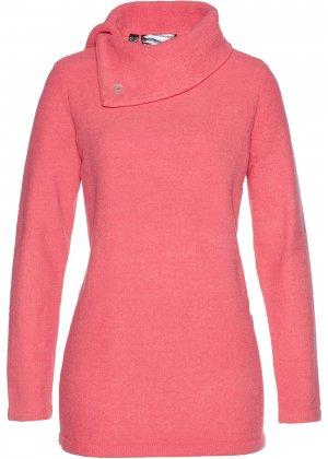 Пушистый пуловер bonprix. Цвет: ярко-розовый