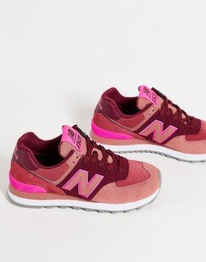 Розовые кроссовки в стиле колор блок 574-Розовый цвет New Balance