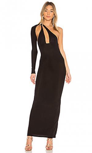 Длинное платье с одним рукавом bradley Michael Costello. Цвет: черный