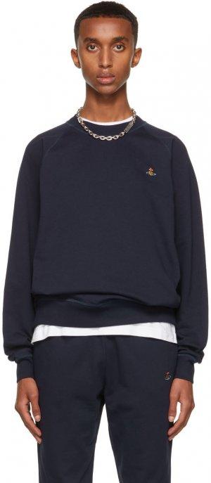 Navy Embroidered Logo Sweatshirt Vivienne Westwood. Цвет: navy
