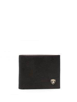 Бумажник с перфорацией Automobili Lamborghini. Цвет: черный