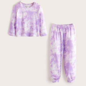Для девочек с принтом тай-дай Топ & Брюки Пижама SHEIN. Цвет: многоцветный