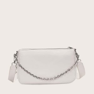 Большая сумка с цепочкой и сумочкой SHEIN. Цвет: белый