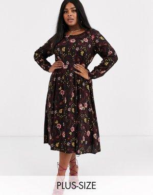 Короткое приталенное платье с цветочным принтом -Мульти Junarose