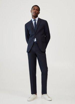 Костюмные брюки slim fit из шерсти - Travel Mango. Цвет: глубокий темно-синий