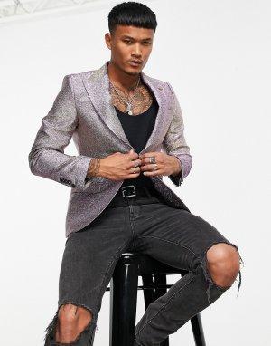 Блейзер с блестками цвета шампанского -Разноцветный Twisted Tailor