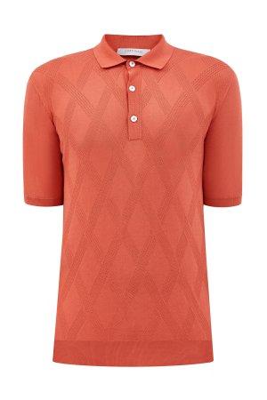 Джемпер-поло из хлопковой пряжи с перфорированным принтом CORTIGIANI. Цвет: оранжевый