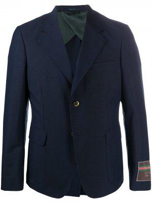 Однобортный пиджак с нашивкой-логотипом Gucci. Цвет: синий