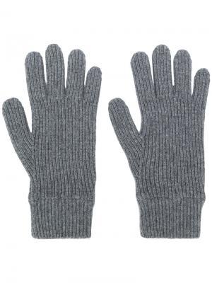 Перчатки в рубчик Malo. Цвет: серый