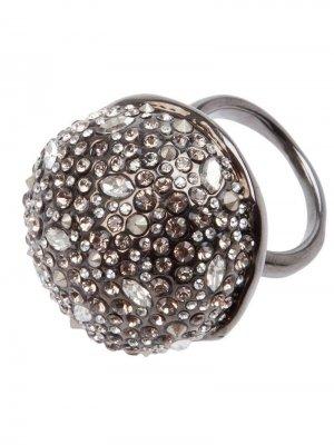 Кольцо с кристаллами Swarovski Alexis Bittar. Цвет: серый