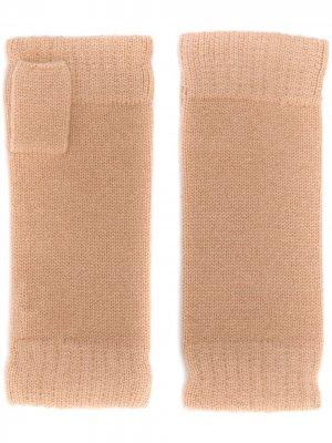 Кашемировые перчатки-митенки N.Peal. Цвет: нейтральные цвета