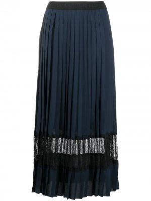 Плиссированная юбка с кружевом Karl Lagerfeld. Цвет: синий