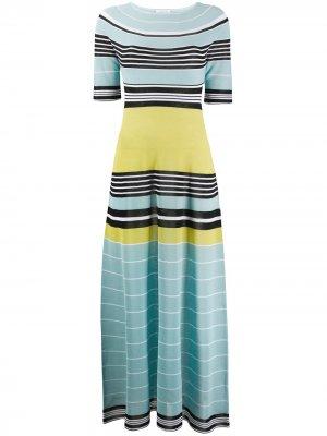 Длинное трикотажное платье в полоску LANVIN. Цвет: синий