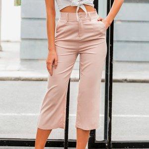 Simplee однотонные брюки капри с карманом SHEIN. Цвет: розовые пастельный