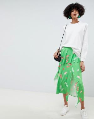 Юбка миди с цветочным принтом и оборкой -Мульти ASOS DESIGN