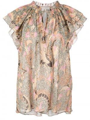Блузка с оборками и принтом Ulla Johnson. Цвет: нейтральные цвета
