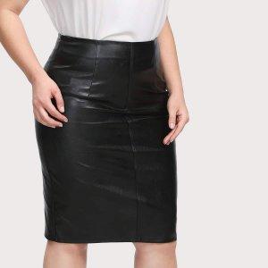 Модная Кожаная Юбка SHEIN. Цвет: чёрный